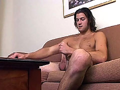 Hot long haired stud playing with his nice cock in this one