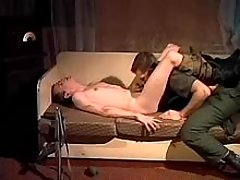 Military guys try gay love at night