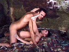 2 sexy soldiers enjoys to suck big cocks and fuck in here