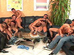 Hot college studs in hardcore bareback anal orgy action