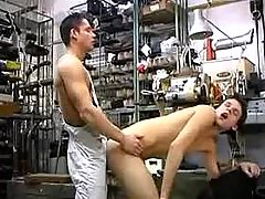 Young horny mechanics fuck and jizz in workshop