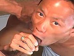 Asian gays have a steamy oral session on the couch