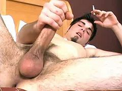 Gay dude jerking off his meaty ramrod all day long