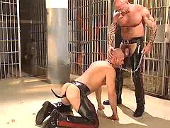 Freaky gay slave throats depraved master on knees