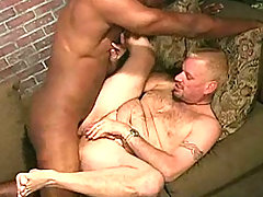 Gay Blond sucks black dick & assfucked cum facial