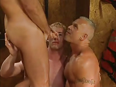 Mature and young gays get cum in threesome