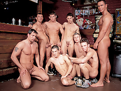 Mega moist hunks in a group orgy fuck fest happens in a wand